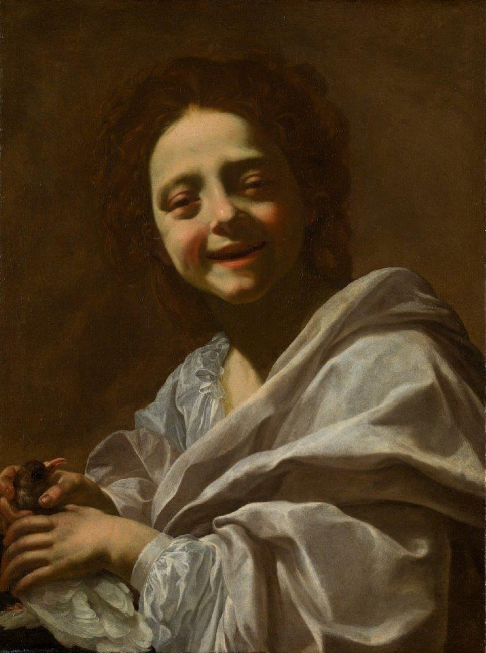 Portrait of a Girl with a Dove, by Simon Vouet